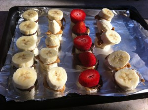 Frozen bananas and peanut butter make a nice snack on a hot afternoon.