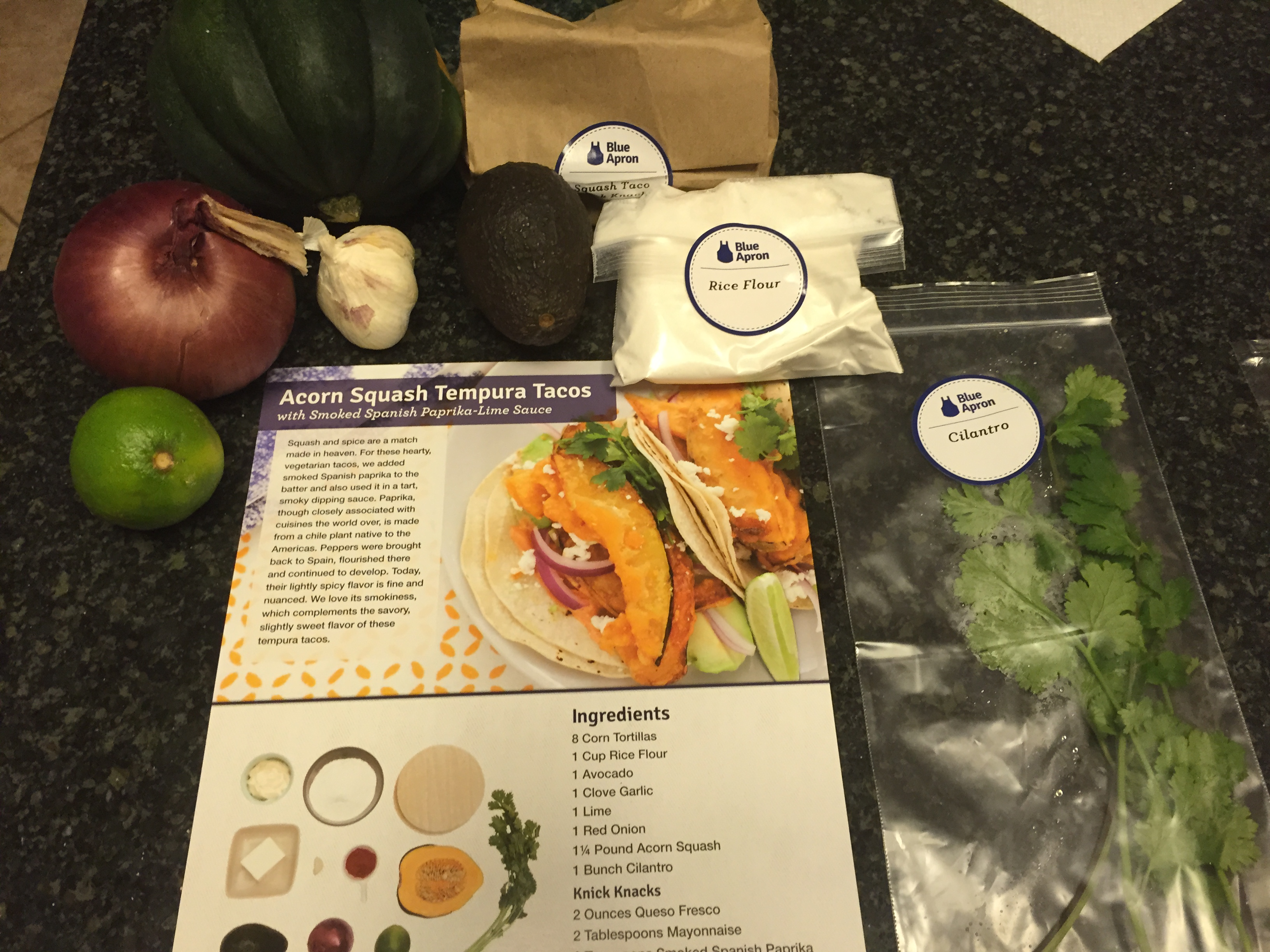 Blue apron tacos - I Immediately Unpacked The Box And Divided My Ingredients By Meal I Love The Single Serving Items One Sprig Of Rosemary A Handful Of Chives